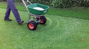 Image of a fertiliser spreader being used on a lawn by Green Stripe Lawn Care Milton Keynes